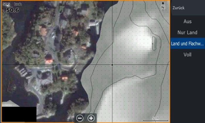 Bild (18) Test Navionics Sonarcharts Live angeln in norwegen Map mit Luftbild und Flachwasser
