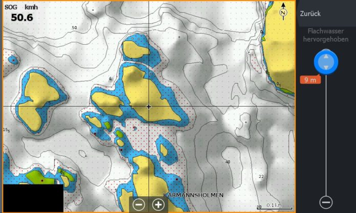 Test Navionics Sonarcharts Live angeln in norwegen Map mit Flachwasser bis 9m