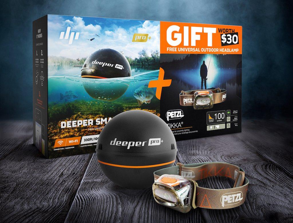 Deeper Fishfinder Pro Plus – inkl. Kopflampe von Petzl Tikka (Weihnachtsbundle)