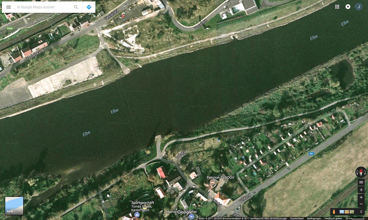 Zanderangeln am Fluss - Prallhang und Gelihang nicht erkennbar