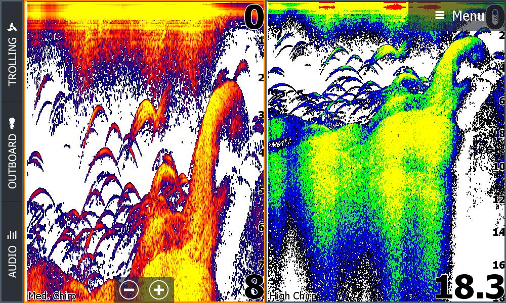 Lowrance HDS Carbon dual CHIRP Echolotbild