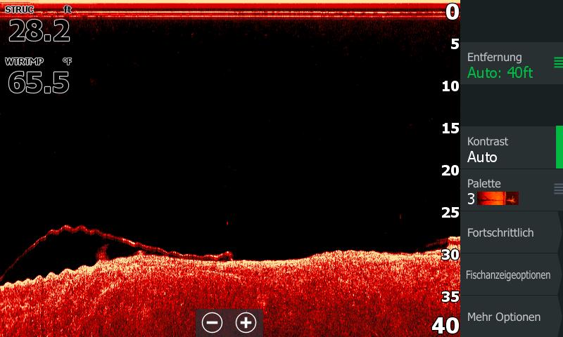 Lowrance Elite Ti² Echolot Fischsichel Interpretation Structure Scan